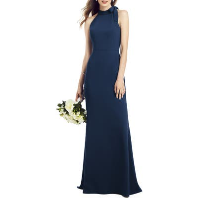 After Six Bow Neck Crepe Gown, Blue