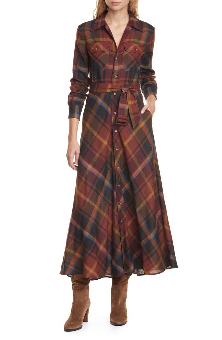 POLO RALPH LAUREN Tartan Long Sleeve Wool Shirtdress, Main, color, 605