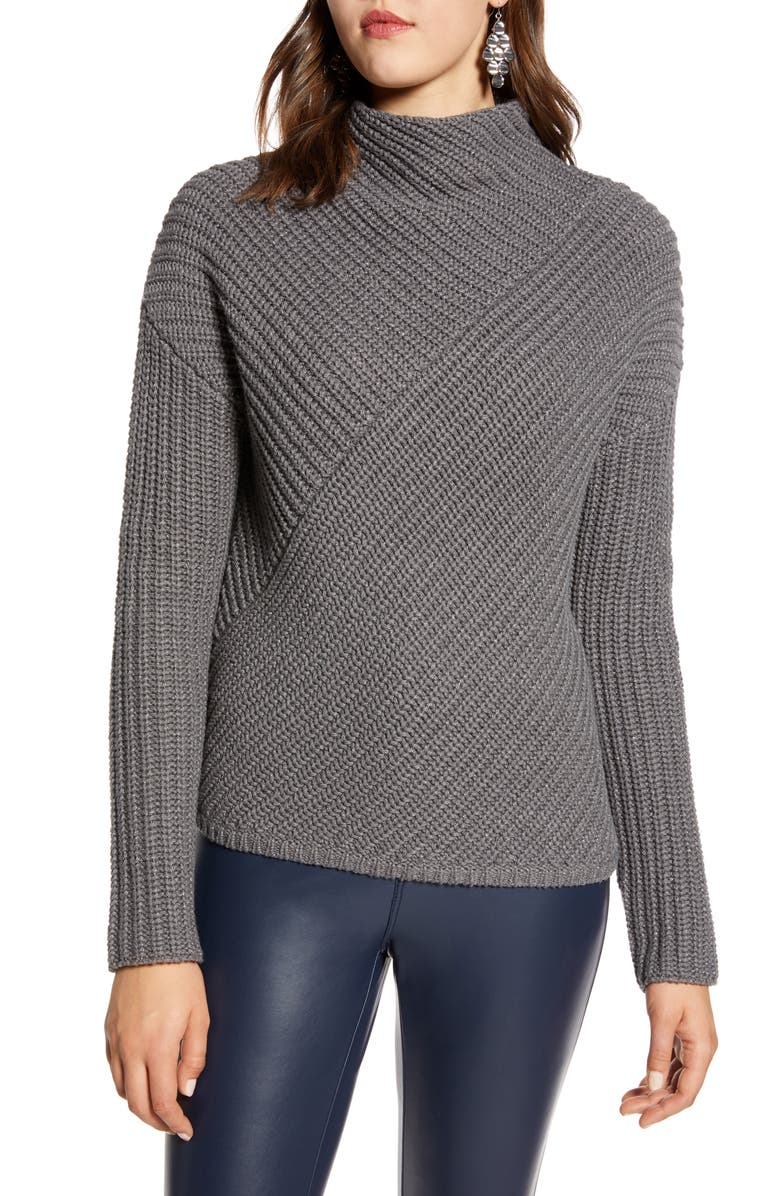 HALOGEN<SUP>®</SUP> Block Ribbed Sweater, Main, color, GREY DARK HEATHER