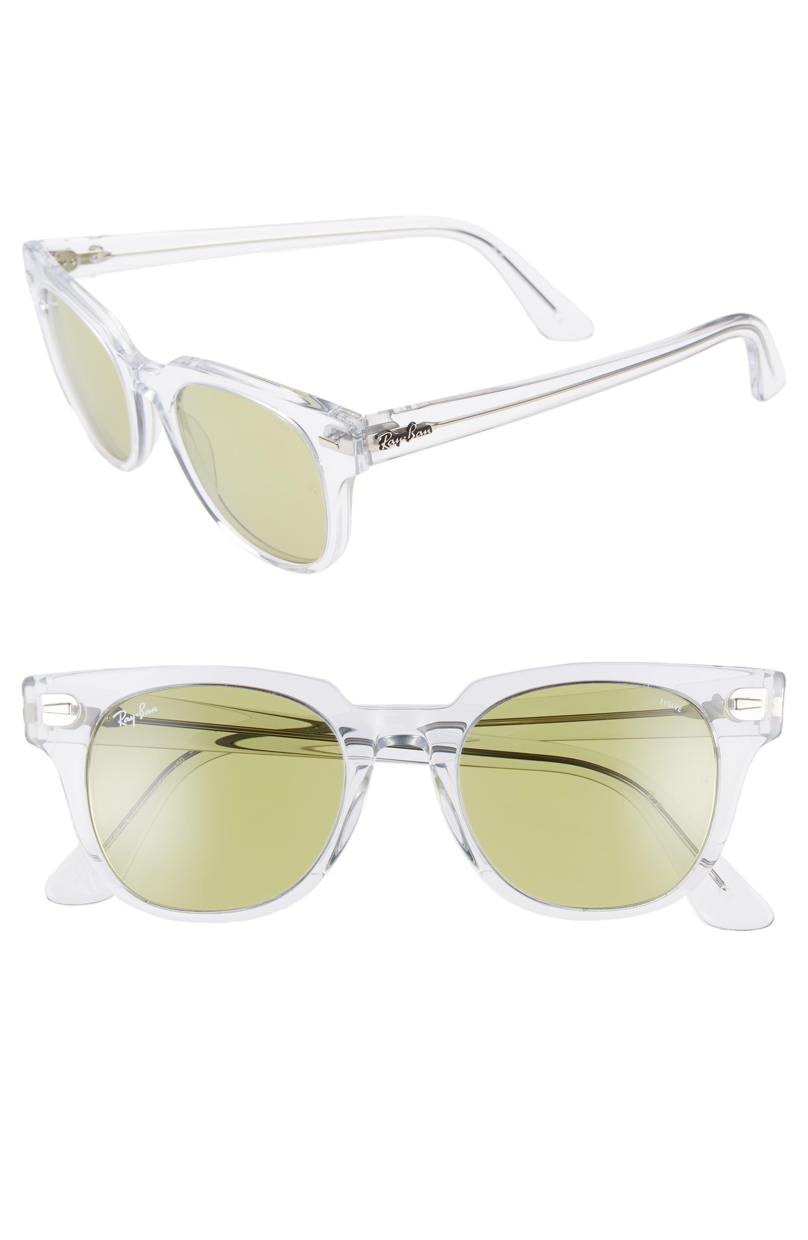Ray-Ban Meteor 50Mm Wayfarer Photochromic Sunglasses - Crystal/ Green Solid