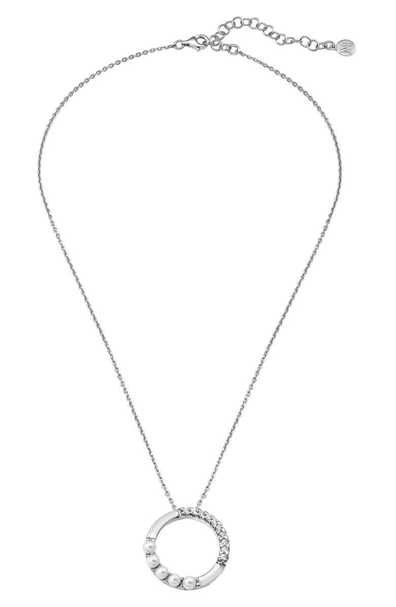 MAJORICA Simulated Pearl Open Circle Pendant Necklace, Main, color, 040