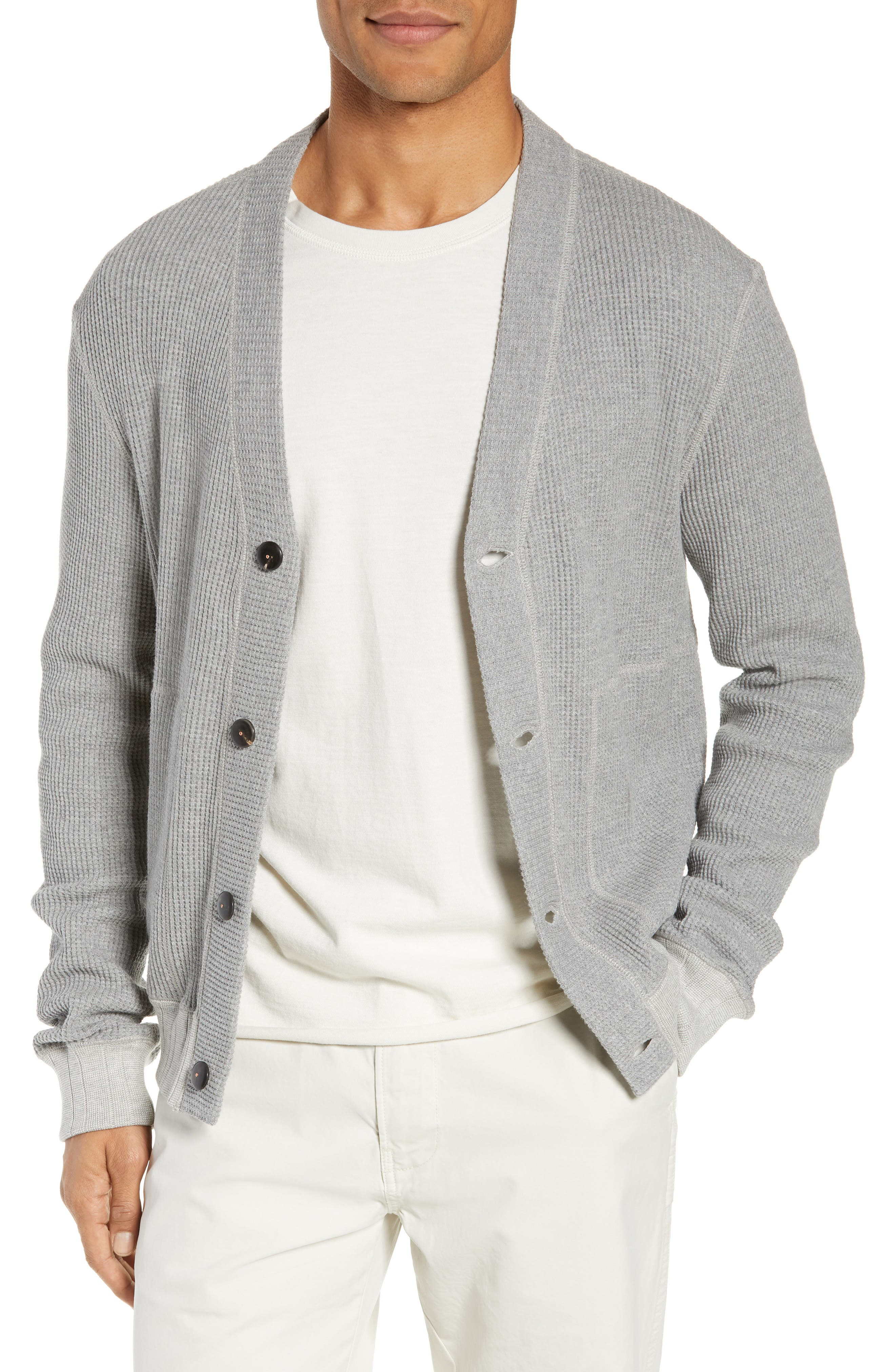 Billy Reid Regular Fit Waffle Knit Button Cardigan, Grey