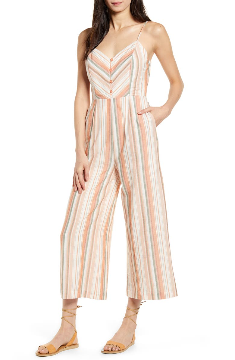LOST + WANDER City to Country Stripe Jumpsuit, Main, color, ORANGE STRIPE