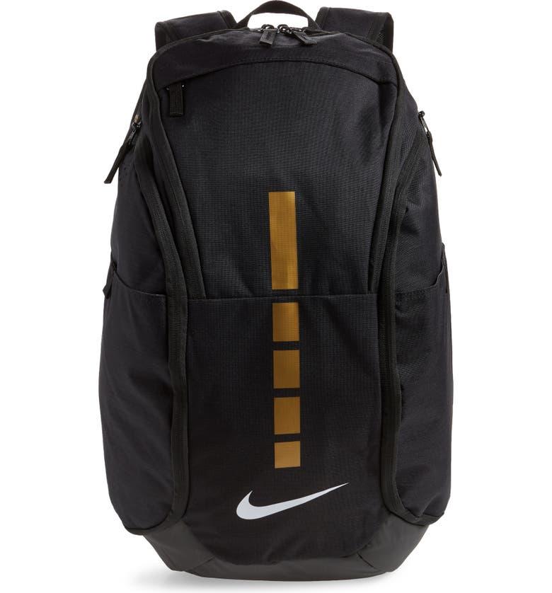 NIKE Hoops Elite Pro Team Backpack, Main, color, BLACK/ METALLIC GOLD/ WHITE