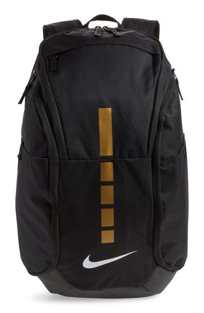 Nike Hoops Elite Pro Team Backpack In Black/ Metallic Gold/ White
