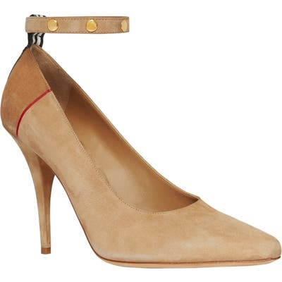 Burberry Kiton Ankle Strap Pump, Brown