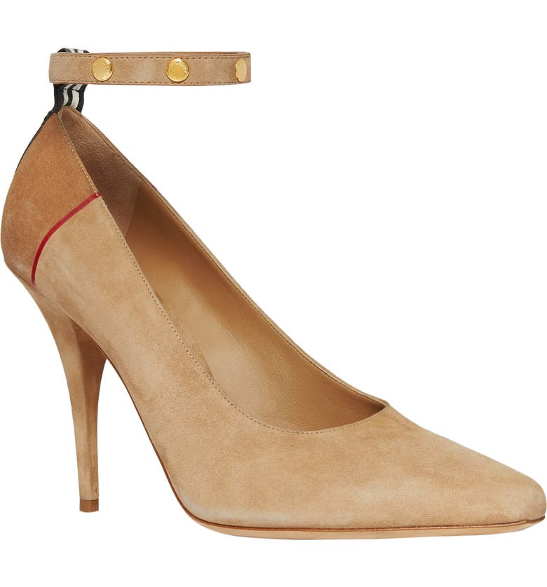 BURBERRY Kiton Ankle Strap Pump, Main, color, TAWNY