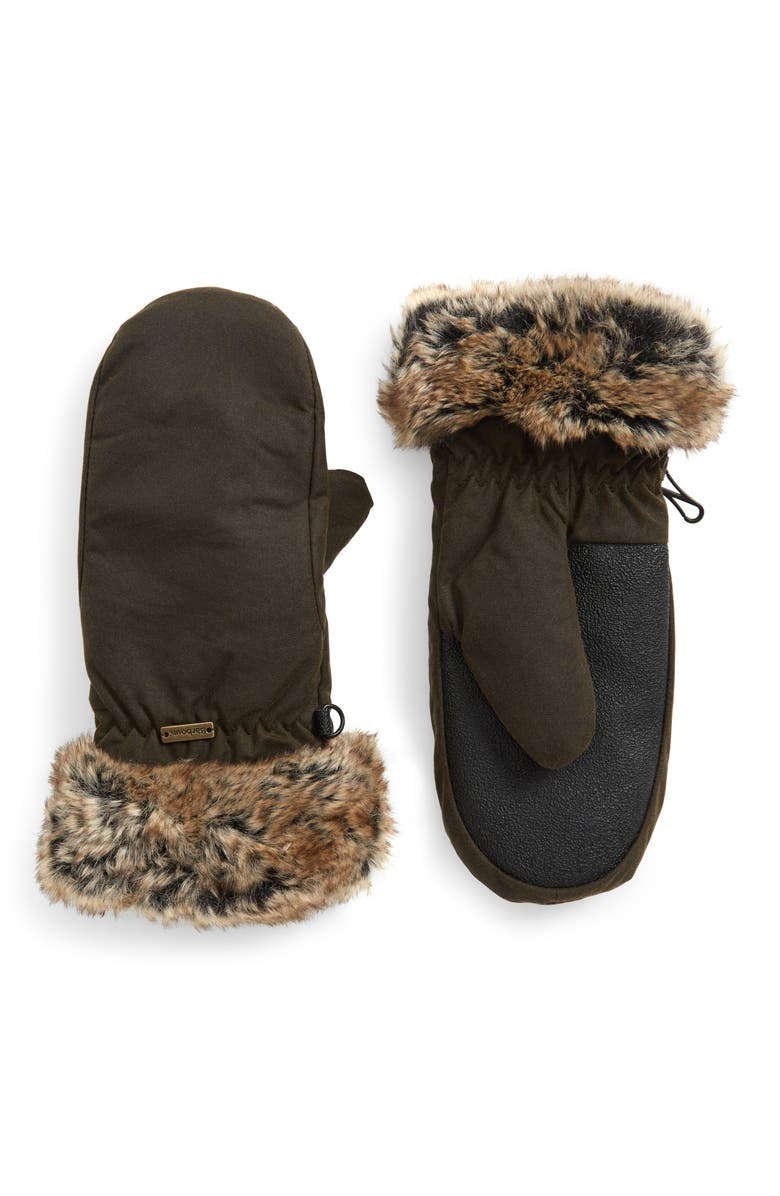 BARBOUR Waterproof Waxed Cotton Mittens with Faux Fur Cuffs, Main, color, OLIVE