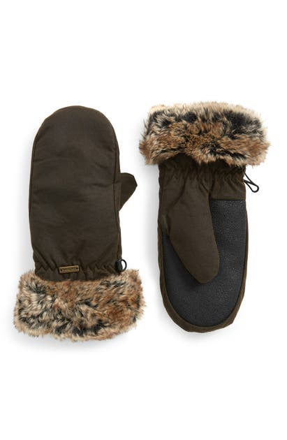 Barbour Waterproof Waxed Cotton Mittens With Faux Fur Cuffs In Olive