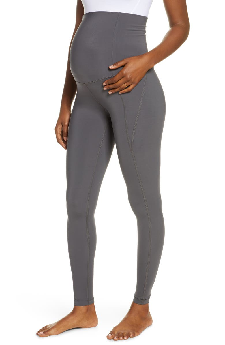 GIRLFRIEND COLLECTIVE High Waist Full Length Maternity Leggings, Main, color, SMOKE