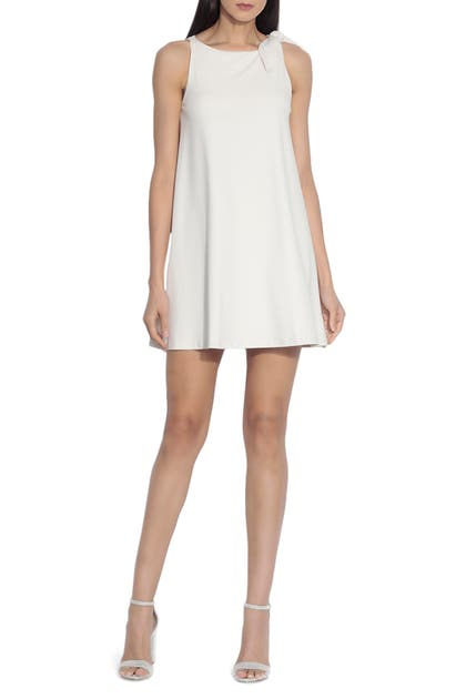 Susana Monaco Bow Shoulder Shift Dress In Blanched Almond