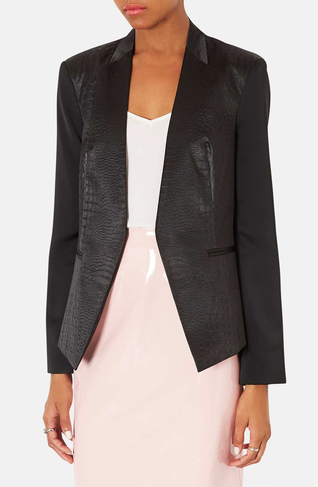 ,                             Embossed Faux Leather Blazer,                             Main thumbnail 1, color,                             001