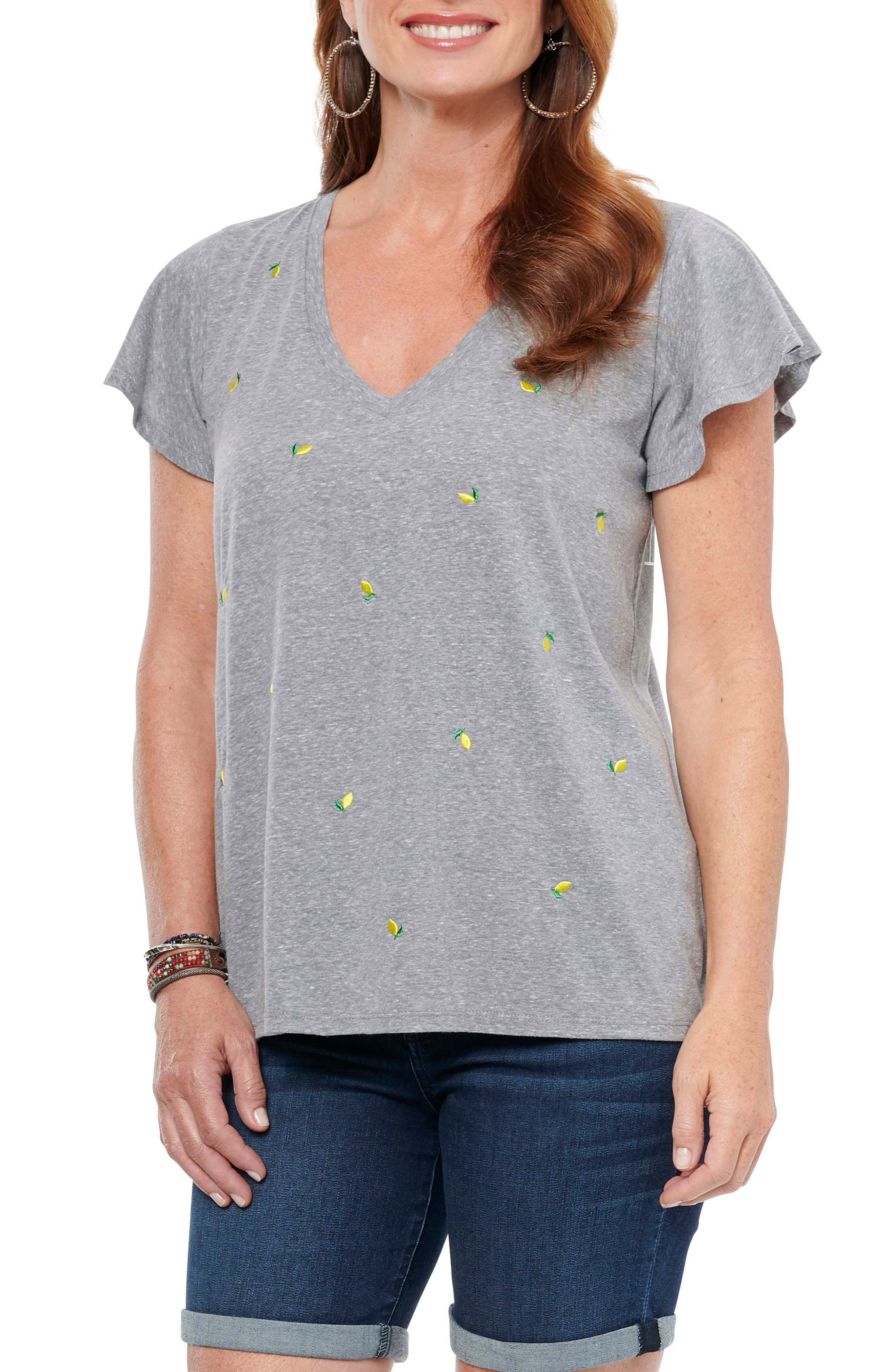 Be casual-cool in this easy triblend T-shirt designed with playful embroidery and sweet fluttering sleeves. Style Name: Wit & Wisdom Embroidered Flutter Sleeve T-Shirt (Nordstrom Exclusive). Style Number: 6012663. Available in stores.
