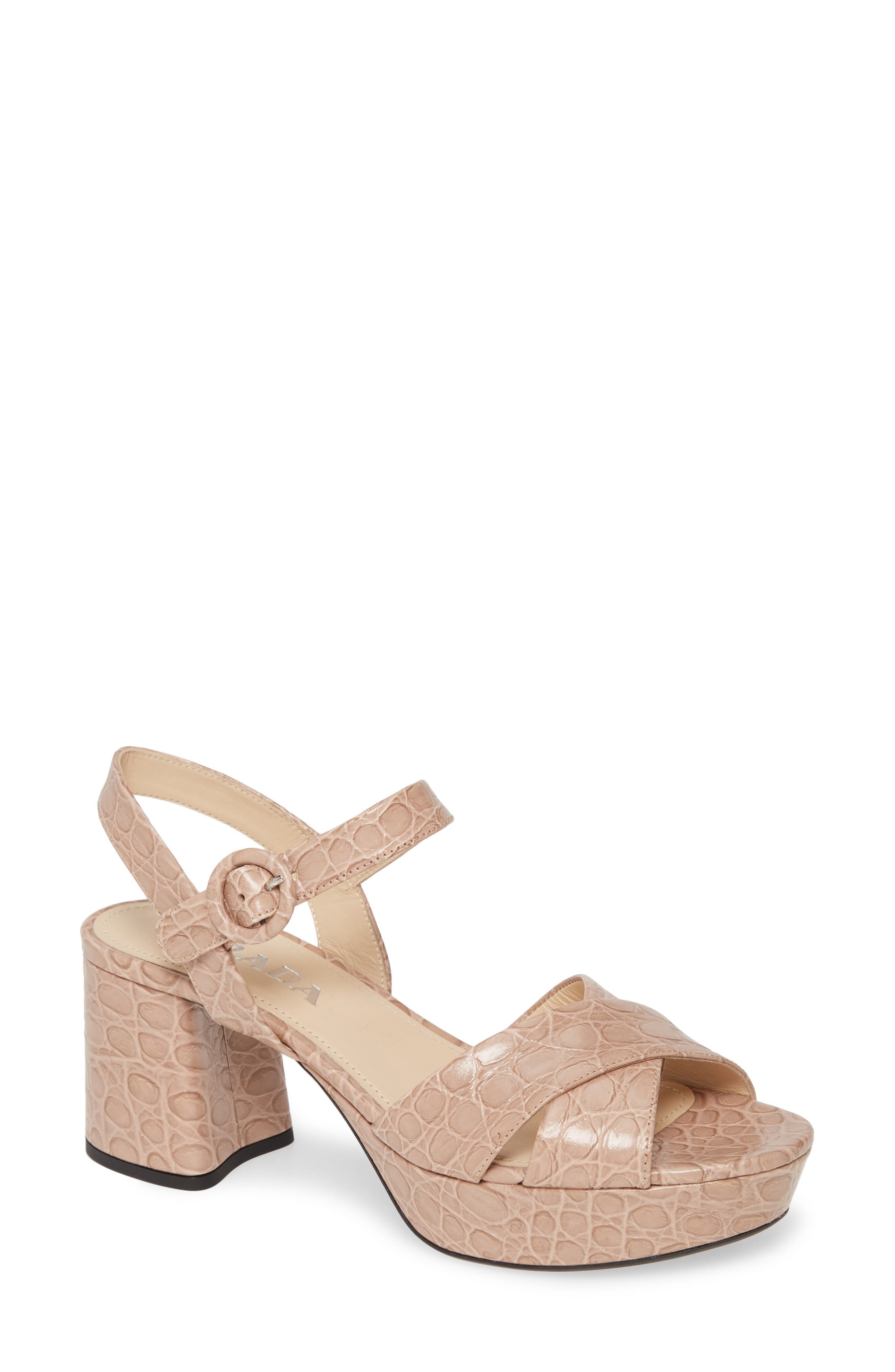 Prada Raffia Platform Wedge Sandal In