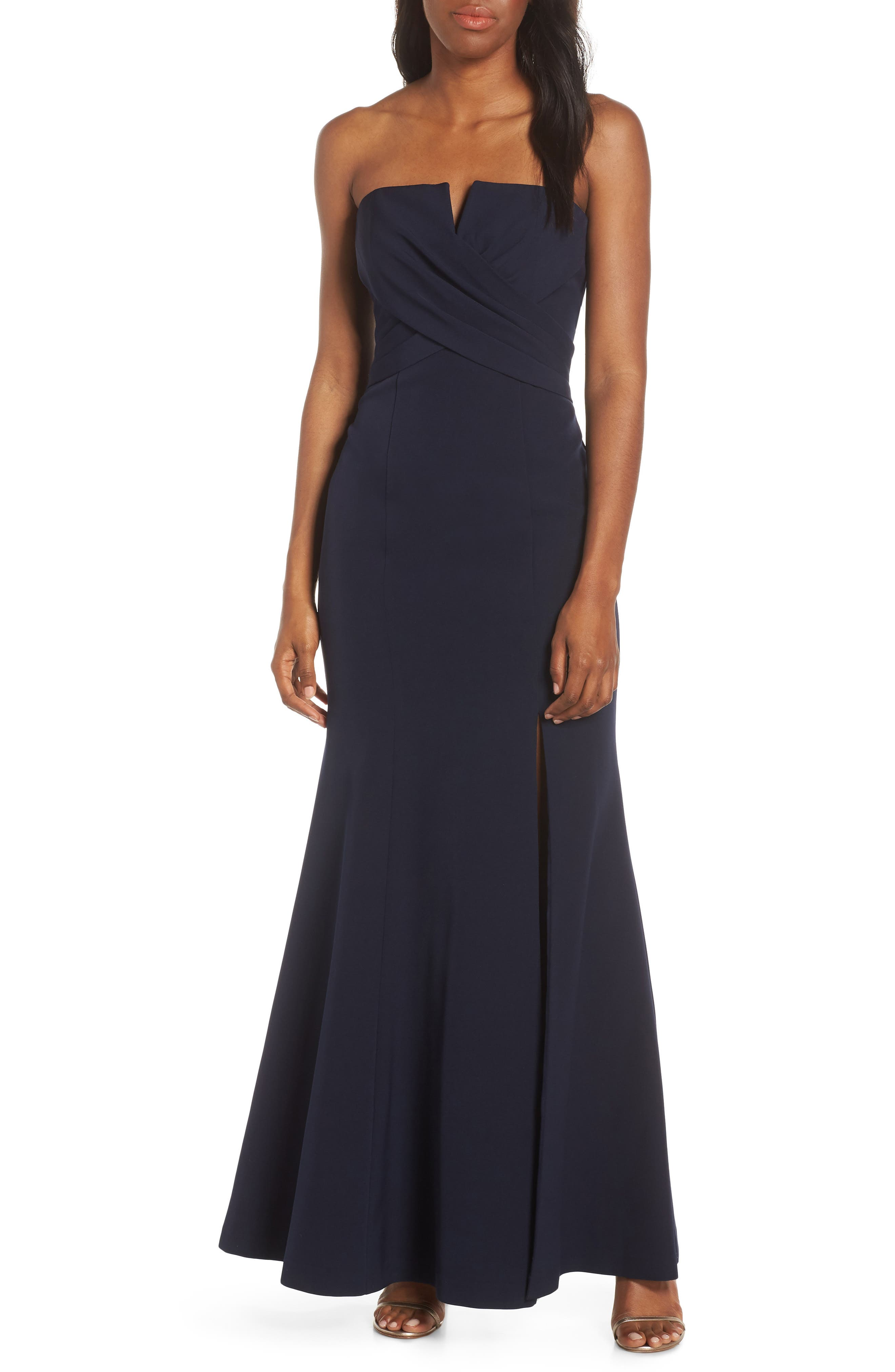 Vince Camuto Strapless Crossover Bodice Gown, Blue