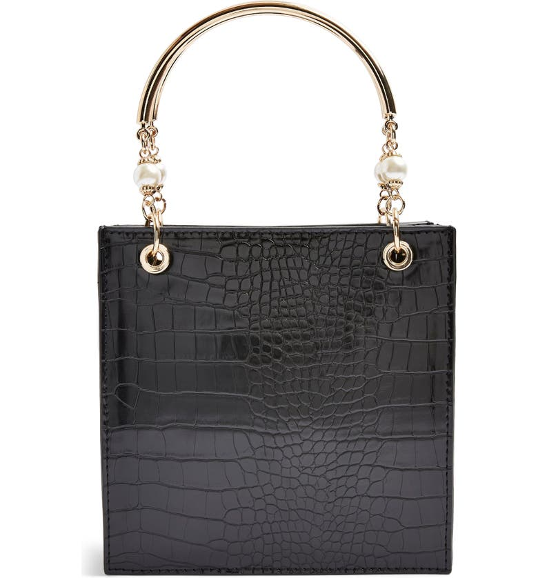 TOPSHOP Ariel Faux Leather Tote, Main, color, BLACK