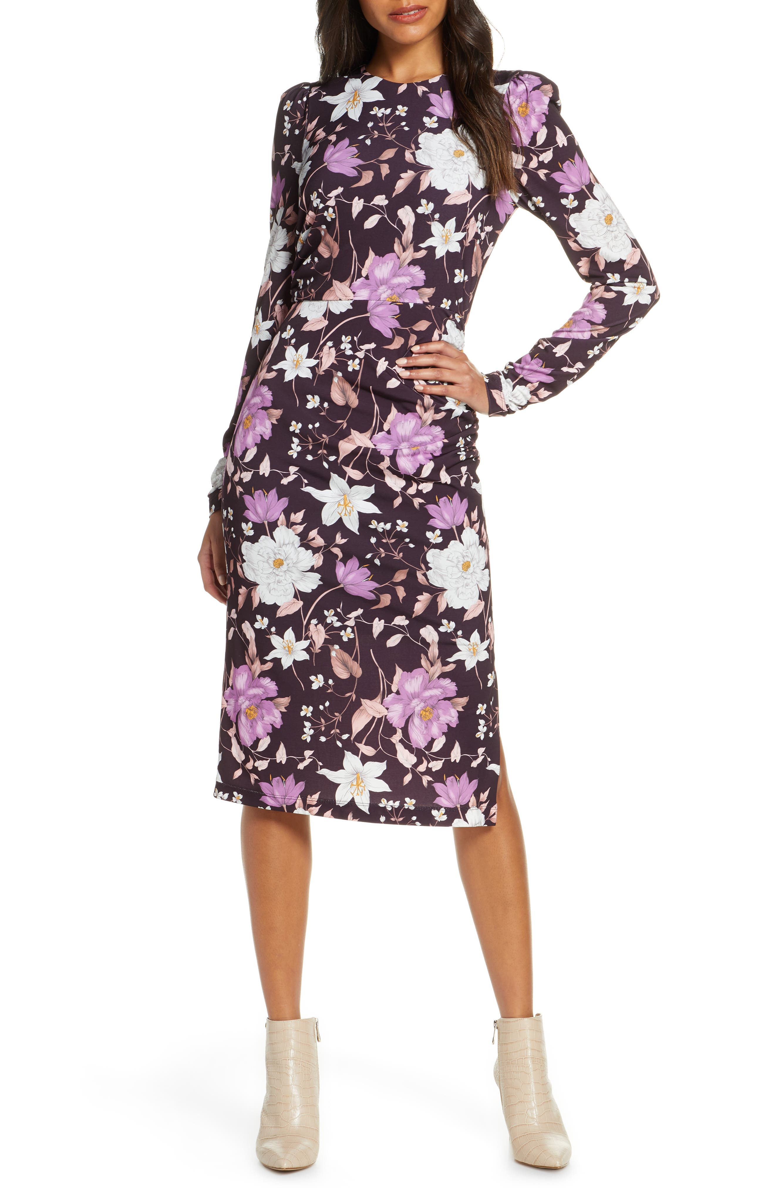 Image of Eliza J Floral Long Sleeve Body-Con Midi Dress