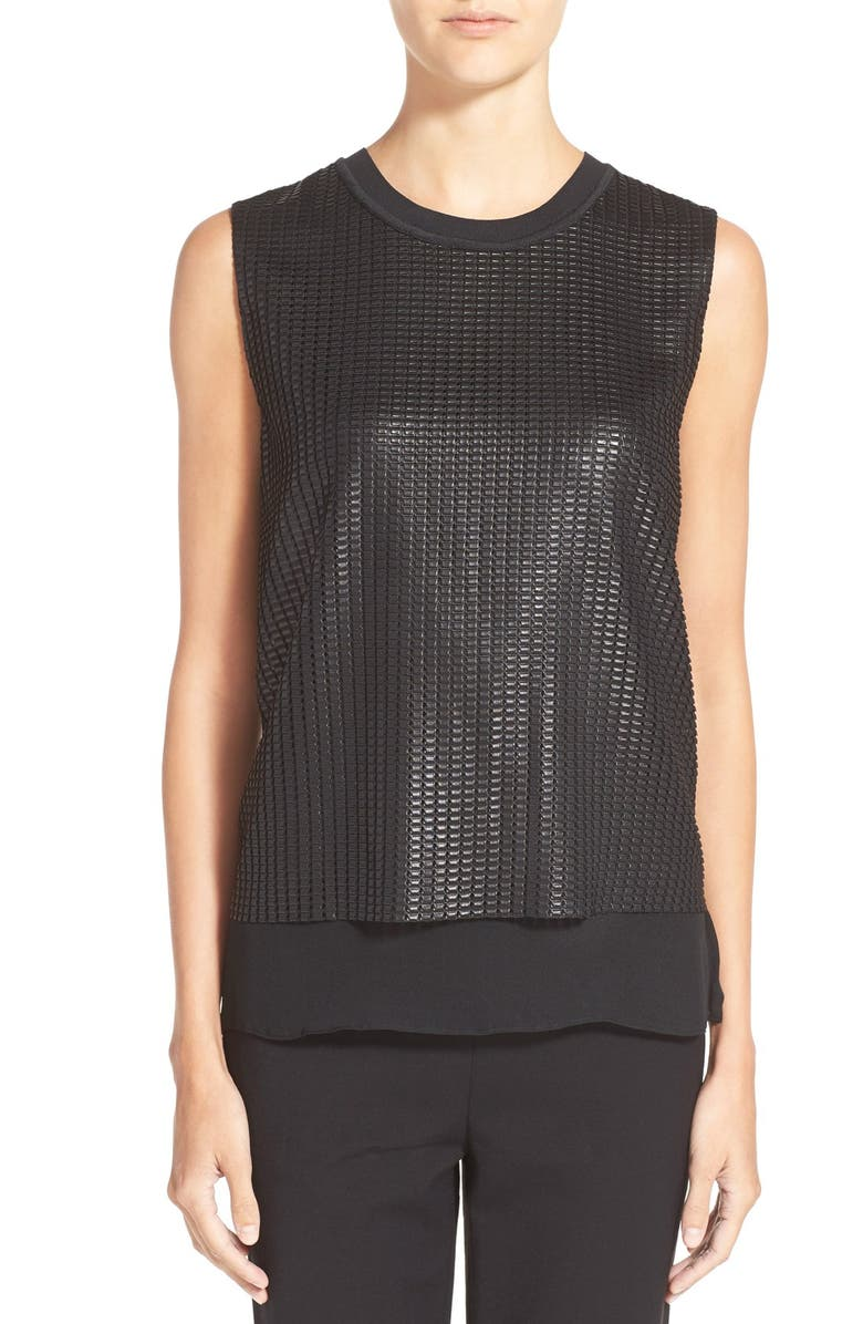 VINCE Mesh Overlay Sleeveless Blouse, Main, color, 001