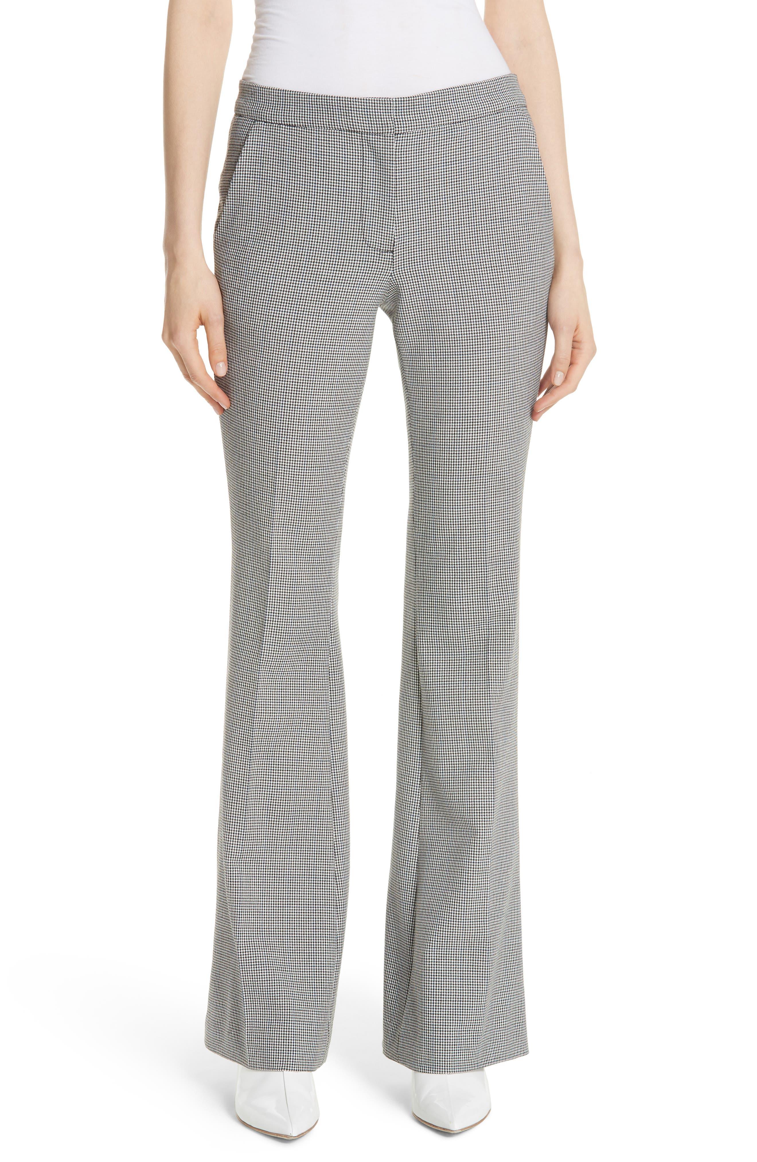 Image of Tibi Hudson Check Slim Bootcut Pants