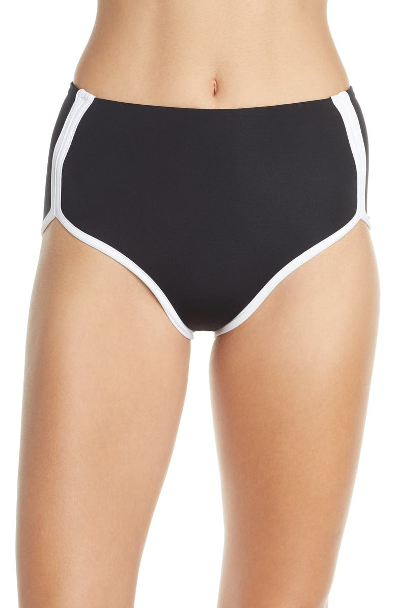 L SPACE Cali High Waist Bikini Bottoms, Main, color, 001
