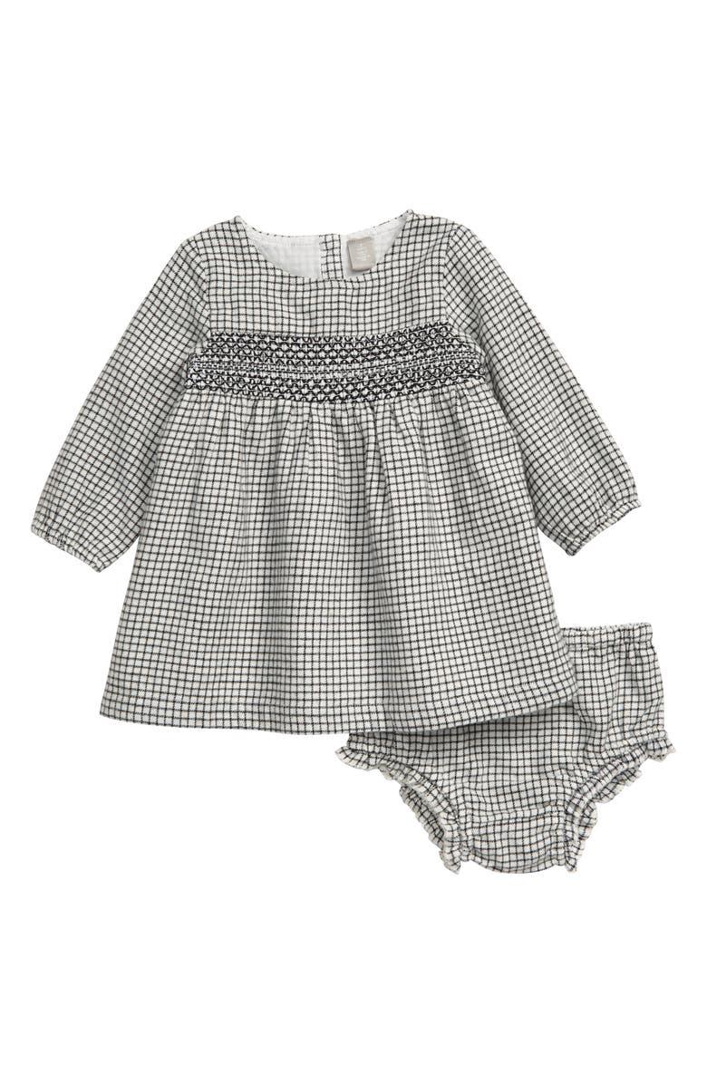 NORDSTROM Smocked Long Sleeve Flannel Dress, Main, color, IVORY EGRET MINI CHECK