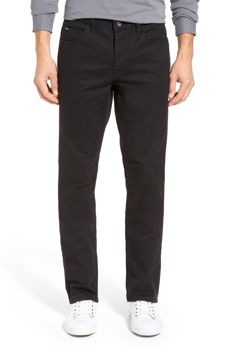 RVCA 'Stay RVCA' Slim Straight Pants, Main, color, 001