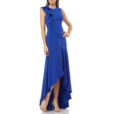 Carmen Marc Valvo Infusion Ruffle Shoulder High/low Gown, Blue
