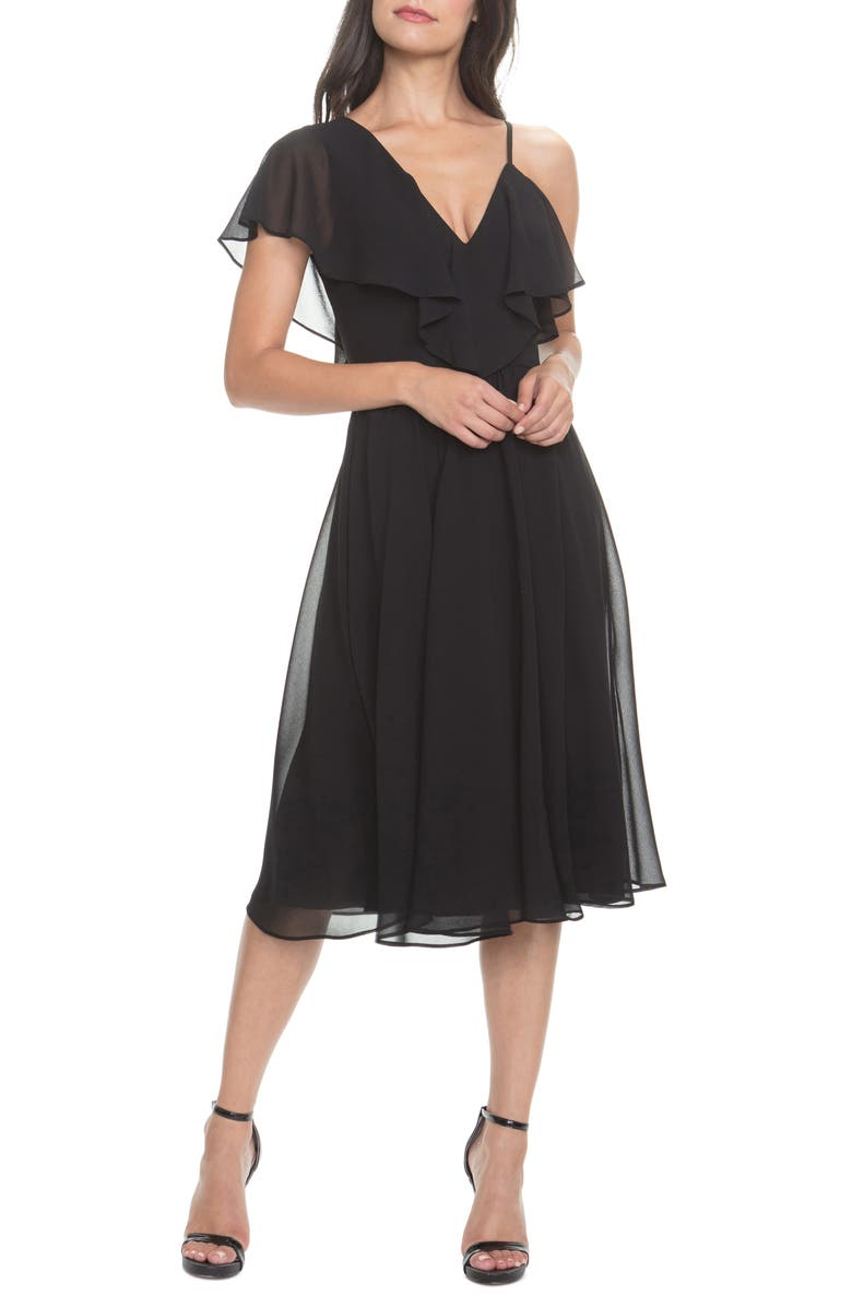DRESS THE POPULATION Claudia Asymmetrical Ruffle Cocktail Dress, Main, color, BLACK