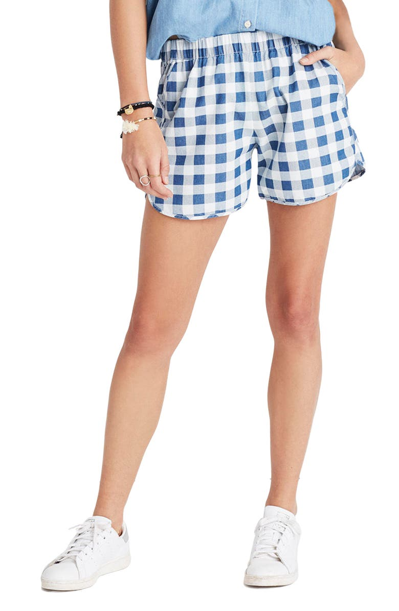 MADEWELL Gingham Check Pull-On Shorts, Main, color, 405
