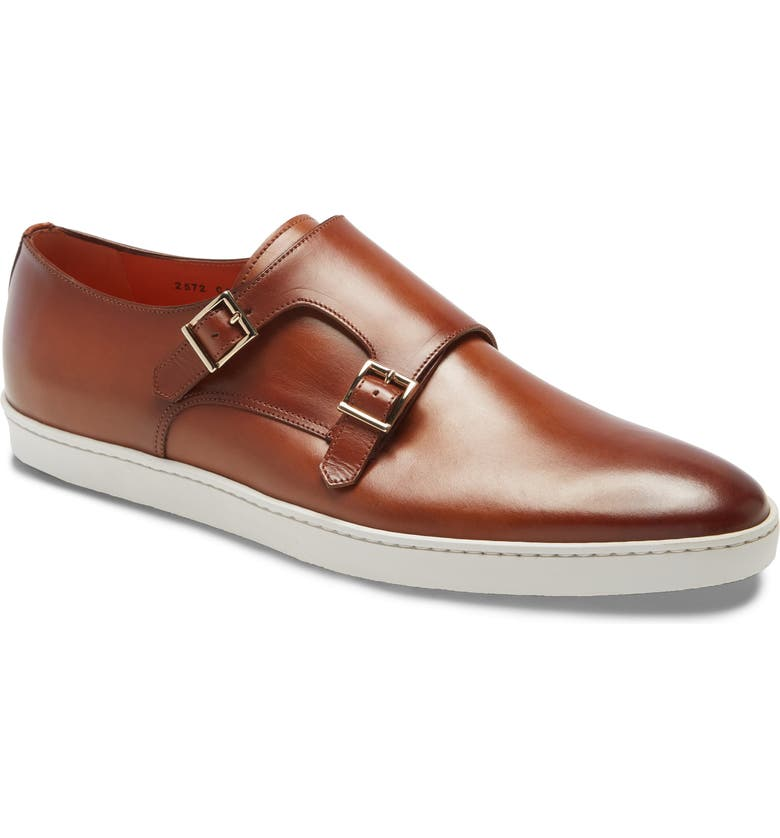 SANTONI Freemont Double Monk Strap Shoe, Main, color, TAN LEATHER