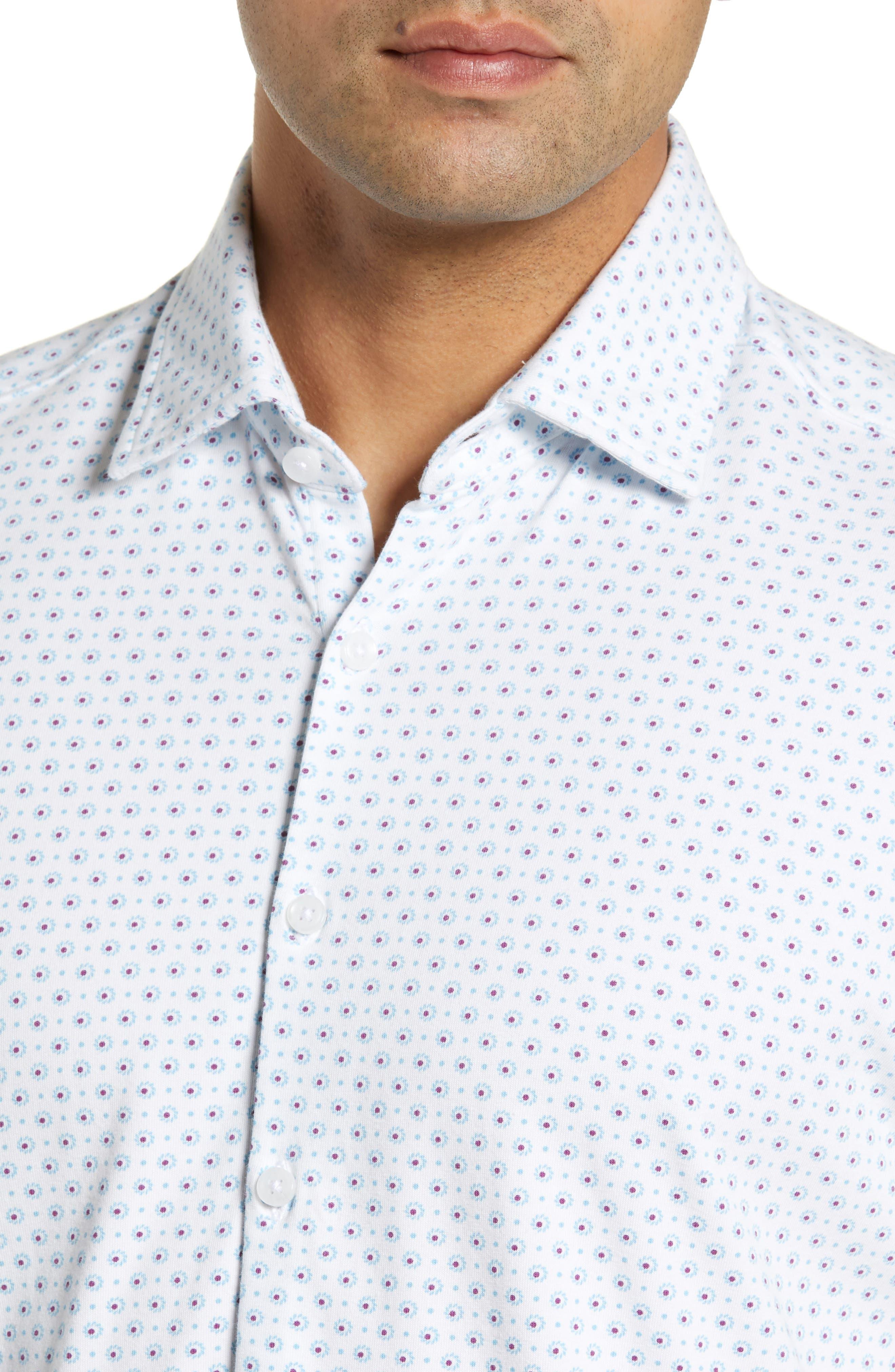 ,                             Regular Fit Geo Print Performance Knit Sport Shirt,                             Alternate thumbnail 2, color,                             LIGHT BLUE