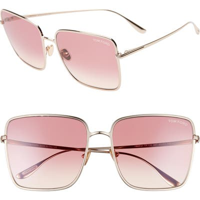 Tom Ford Heather 60mm Polarized Flat Front Square Sunglasses - Rose Gold/ Gradient Bordeaux