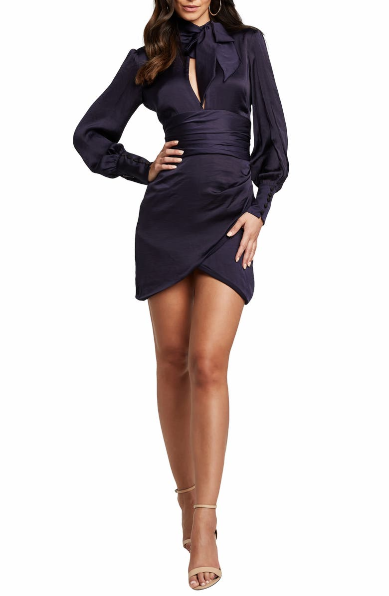 BARDOT Louise Long Sleeve Satin Minidress, Main, color, NAVY
