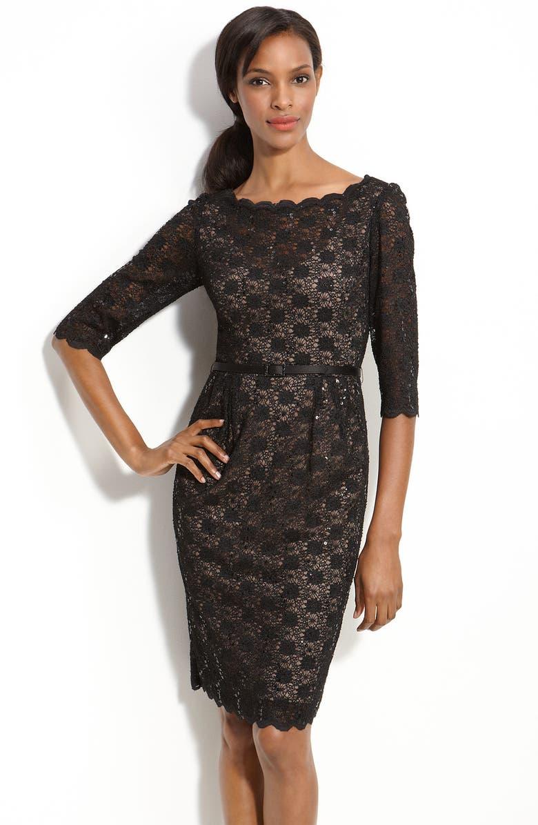 ALEX EVENINGS Lace Sheath Dress, Main, color, 001