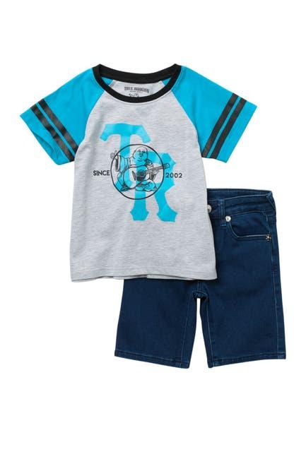 Image of True Religion Raglan Sleeve T-Shirt & Shorts Set