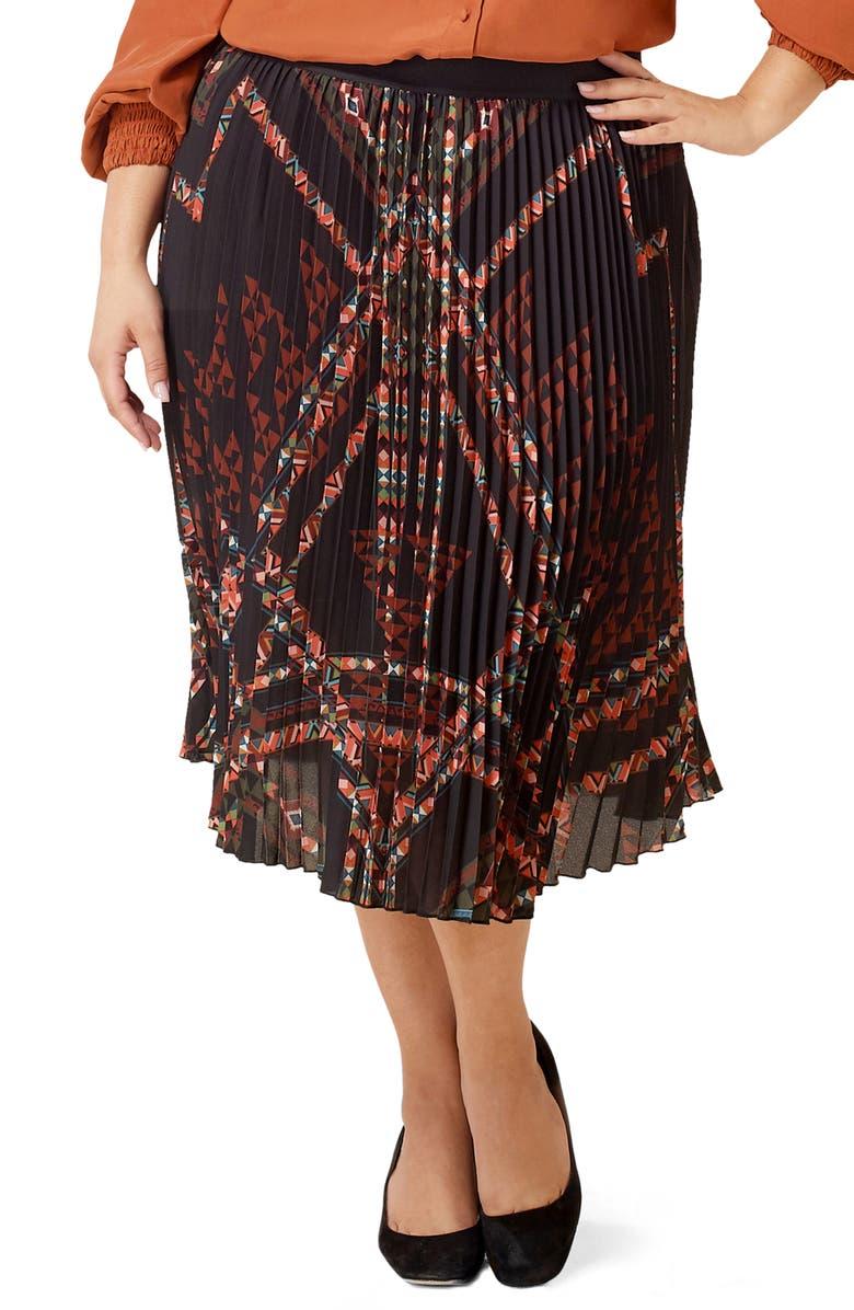 MARÉE POUR TOI Pleated Geo Print Chiffon Skirt, Main, color, BLACK