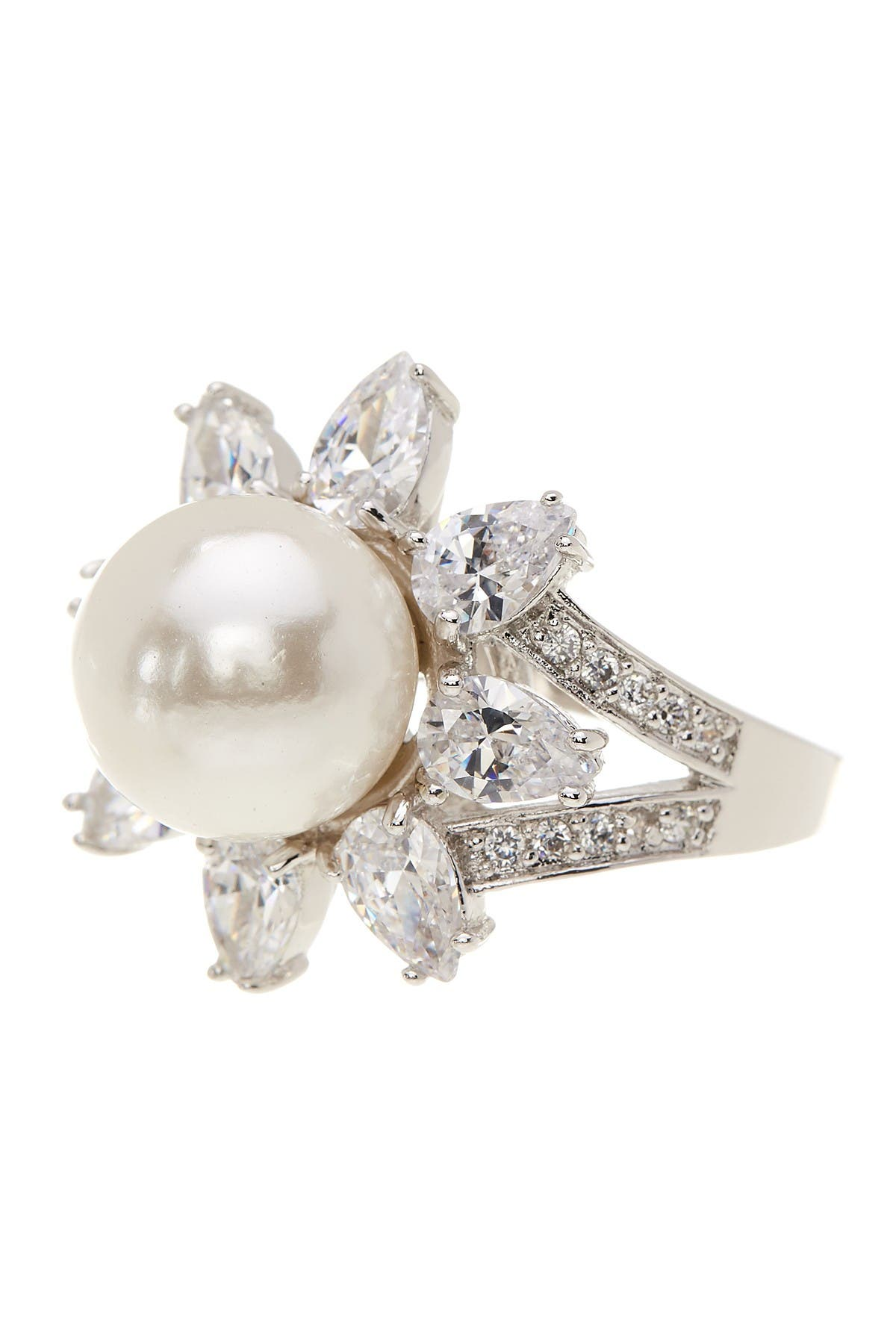 Image of CZ By Kenneth Jay Lane Rhodium Plated Pear CZ & Imitation Pearl Ring
