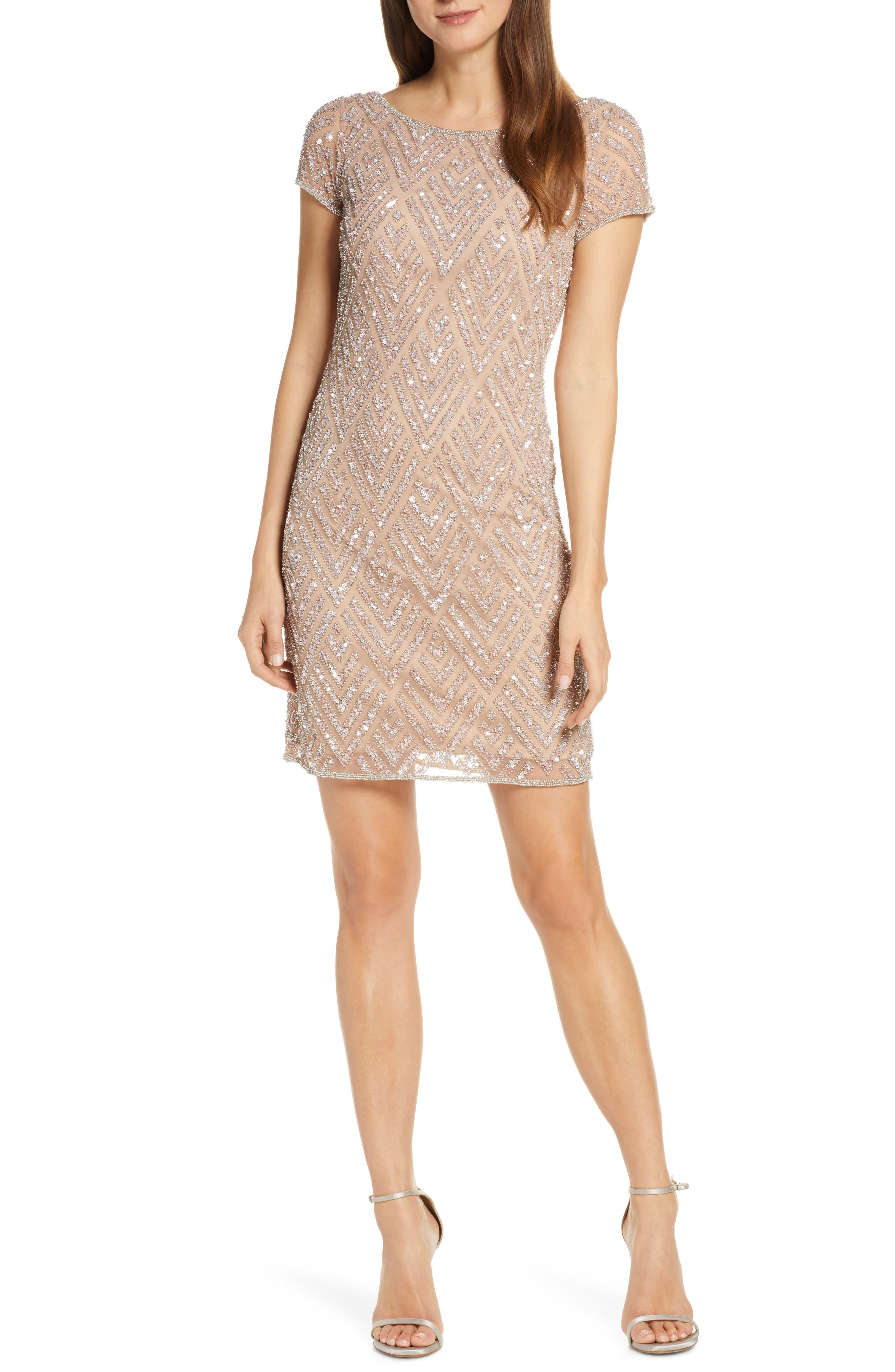 Pisarro Nights Chevron Sequin Sheath Dress, Pink