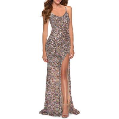 La Femme Multicolor Sequin Gown, Metallic