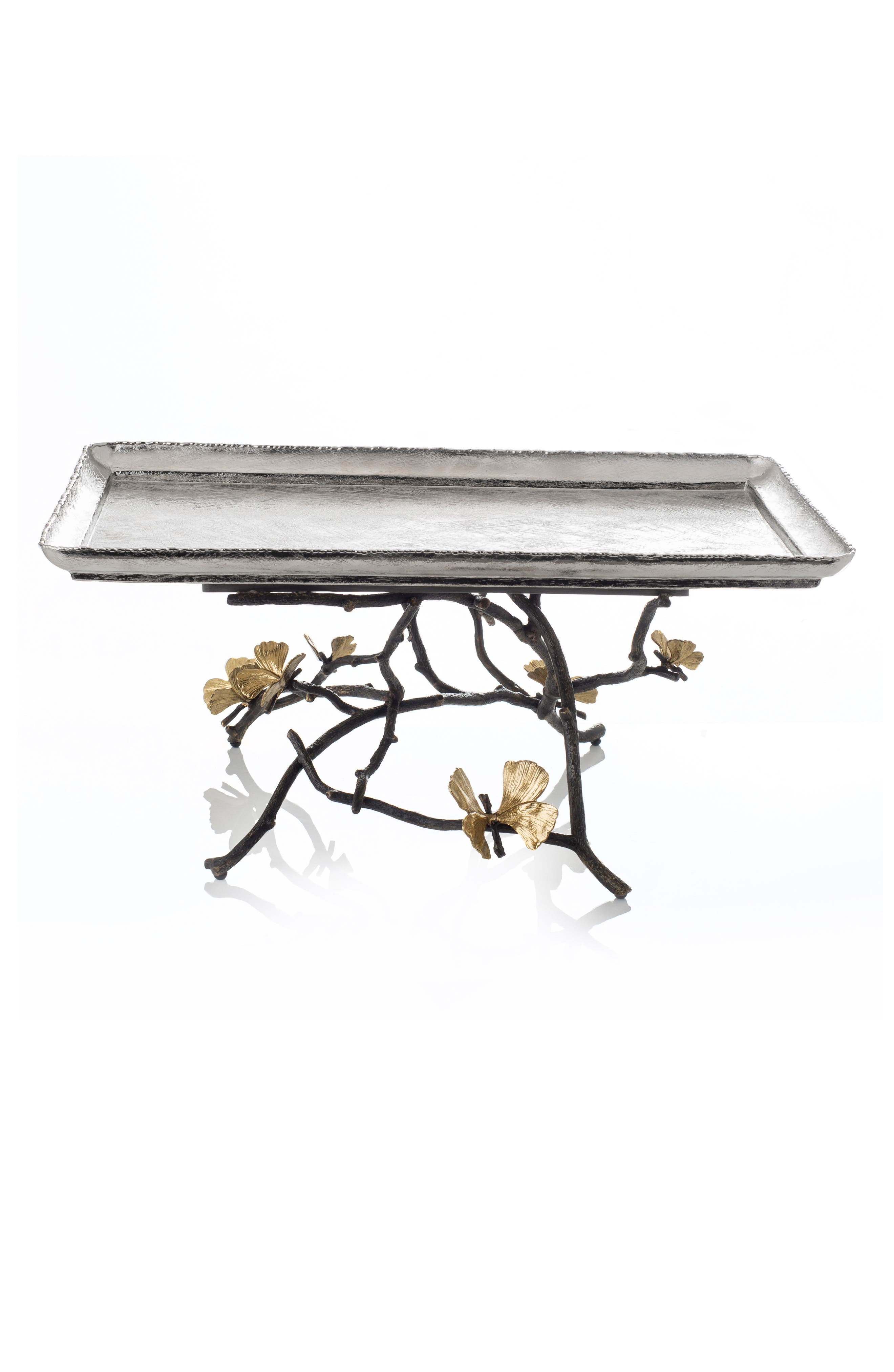 Butterfly Ginkgo Large Footed Centerpiece, Main, color, SILVER