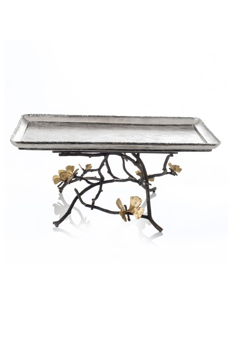 MICHAEL ARAM Butterfly Ginkgo Large Footed Centerpiece, Main, color, SILVER