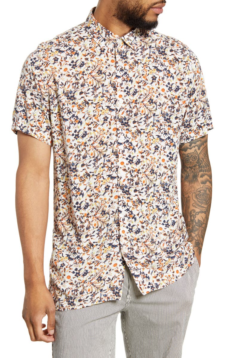 SELECTED HOMME Rasmus Floral Short Sleeve Button-Up Shirt, Main, color, BRIGHT WHITE