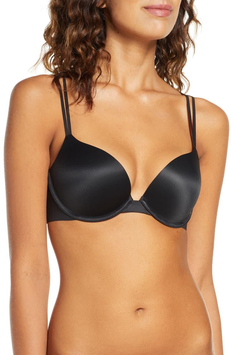 CALVIN KLEIN Liquid Touch Underwire Push-Up Plunge Bra, Main, color, 001 BLACK