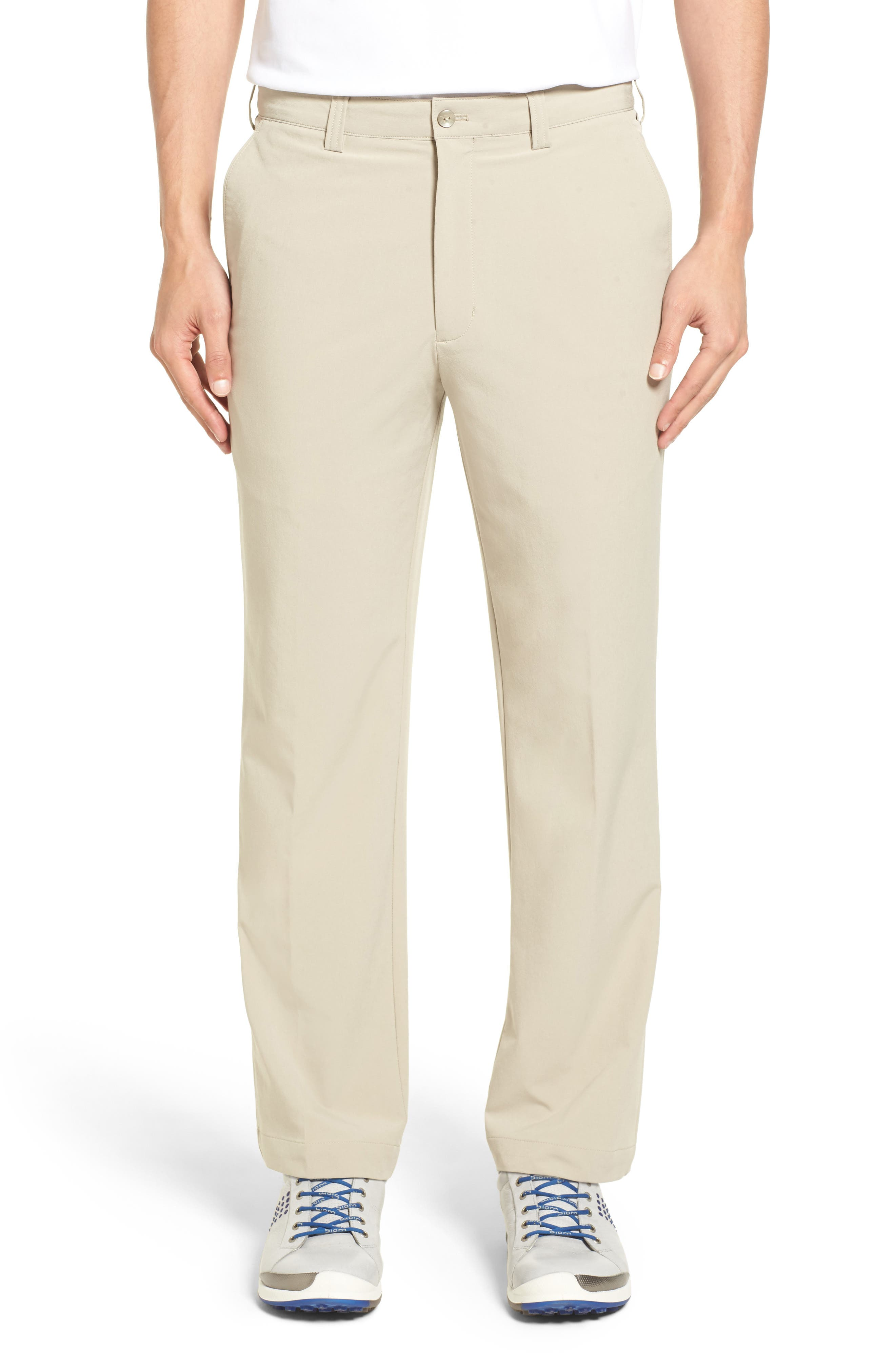 A pair of handsome flat-front pants are cut from four-way-stretch DryTec fabric, designed to wick moisture quickly so you stay cool, dry and comfortable. Style Name: Cutter & Buck Bainbridge Drytec Flat Front Straight Leg Pants. Style Number: 890661. Available in stores.