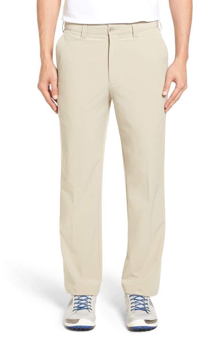 CUTTER & BUCK Bainbridge DryTec Flat Front Straight Leg Pants, Main, color, CASTLE
