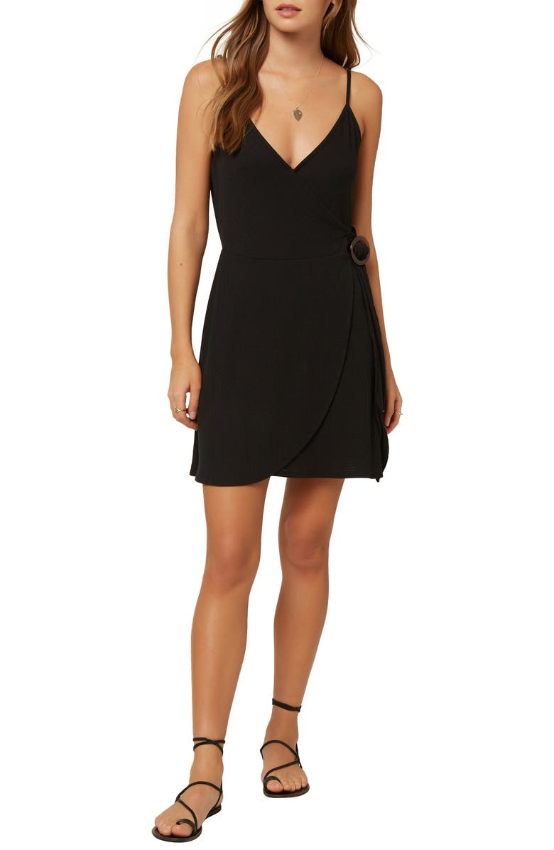 O'NEILL Ivara Wrap Minidress, Main, color, BLACK
