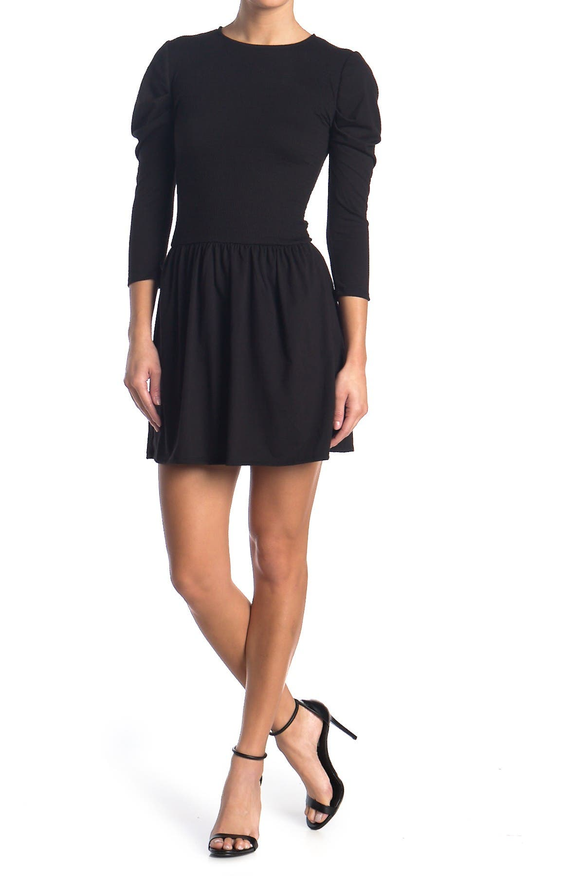 Image of Velvet Torch Puff Sleeve Jewel Neck Mini Dress