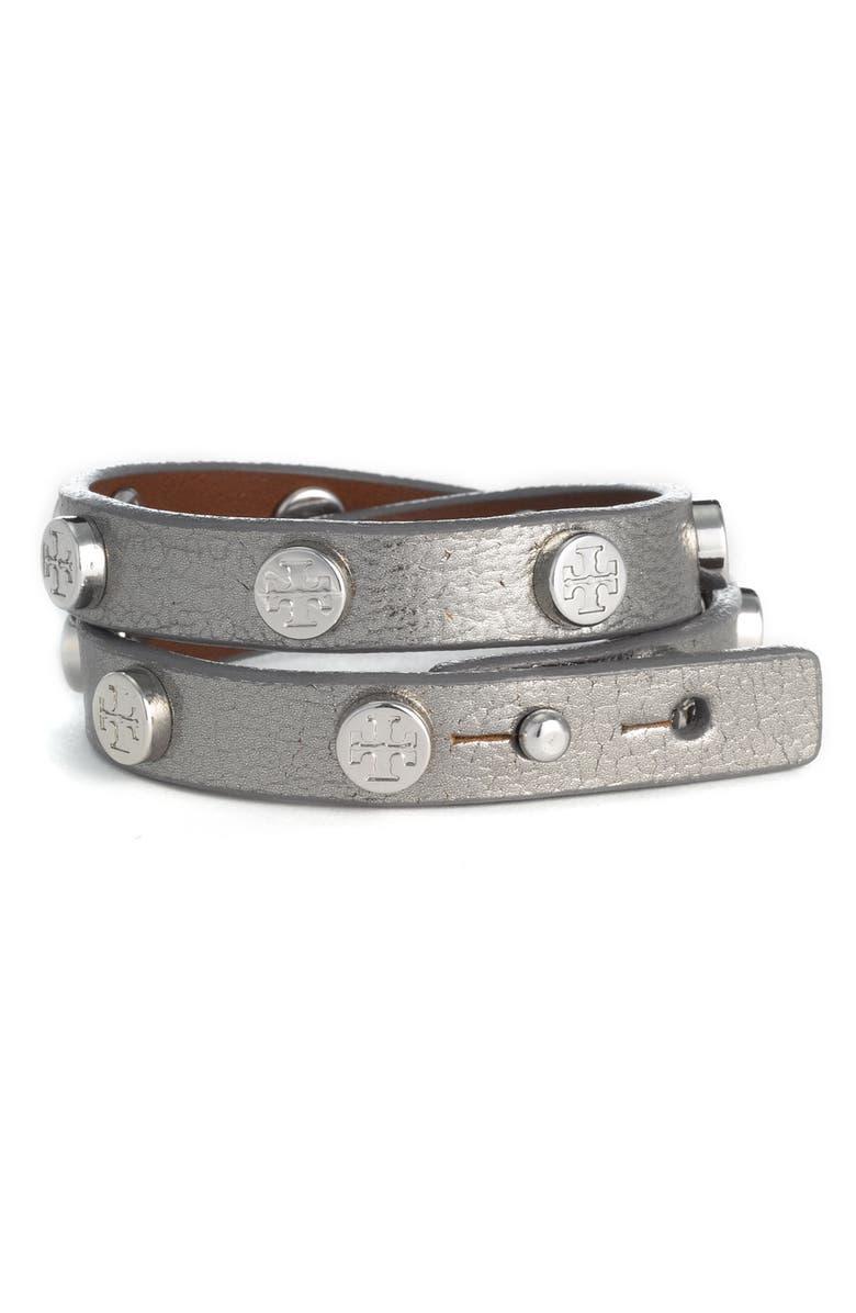 TORY BURCH Double Wrap Logo Bracelet, Main, color, 040