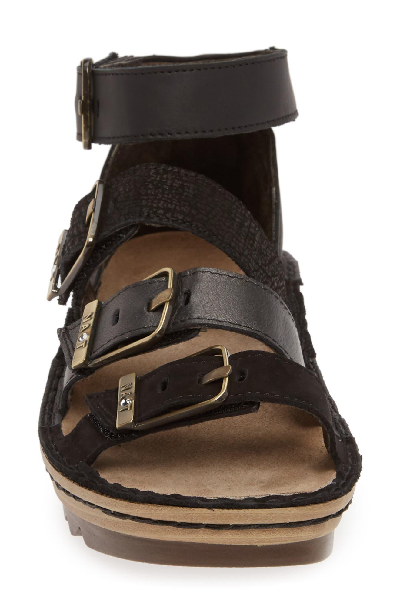 ,                             'Begonia' Sandal,                             Alternate thumbnail 4, color,                             BLACK/ BLACK LEATHER