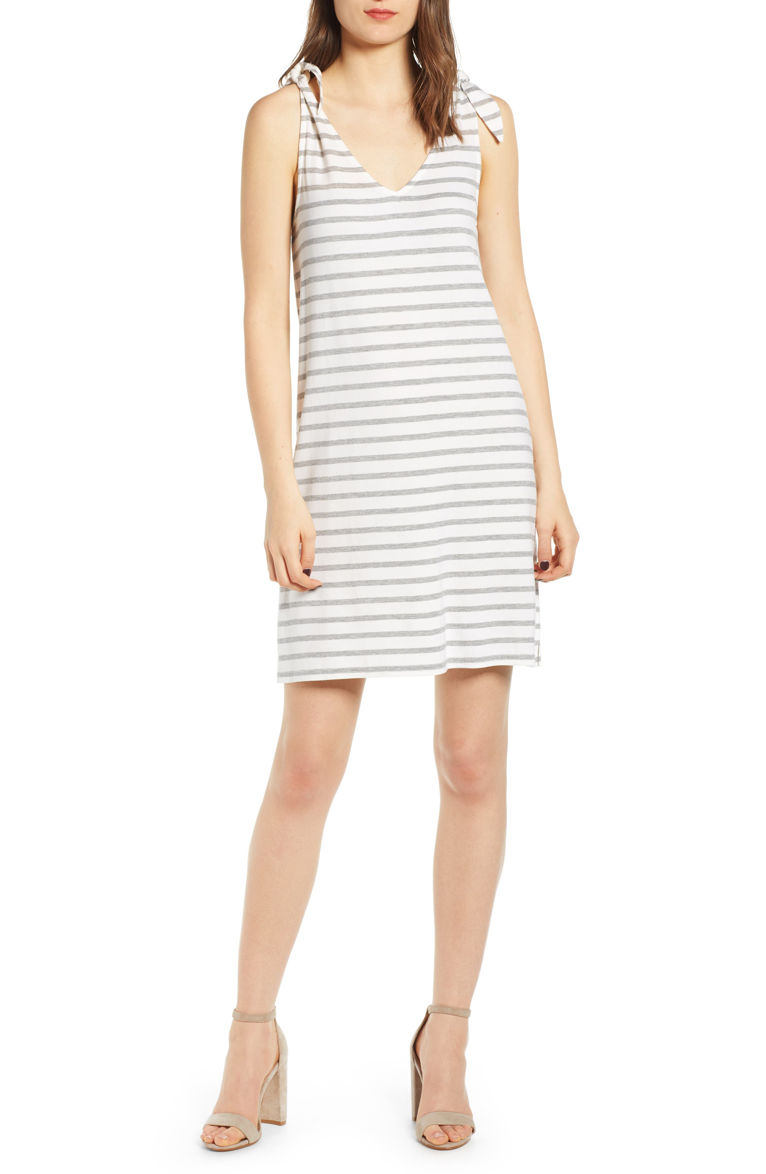Cupcakes And Cashmere French Terry Stripe Dress, Ivory